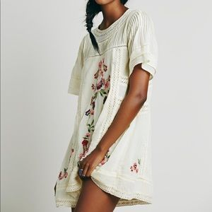 Free people Victorian white embroidered mini dress